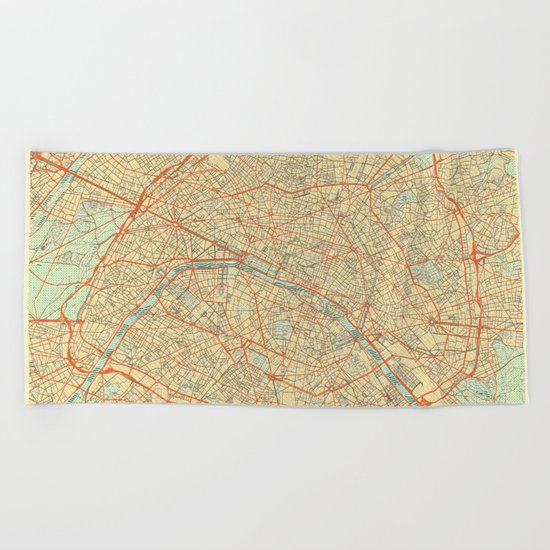 Paris Map Retro Beach Towel
