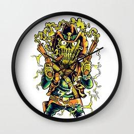 Western Cowboy Skull - Golden Fizz Wall Clock