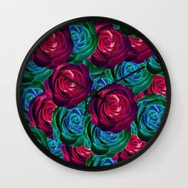 closeup blooming roses in red blue and green Wall Clock
