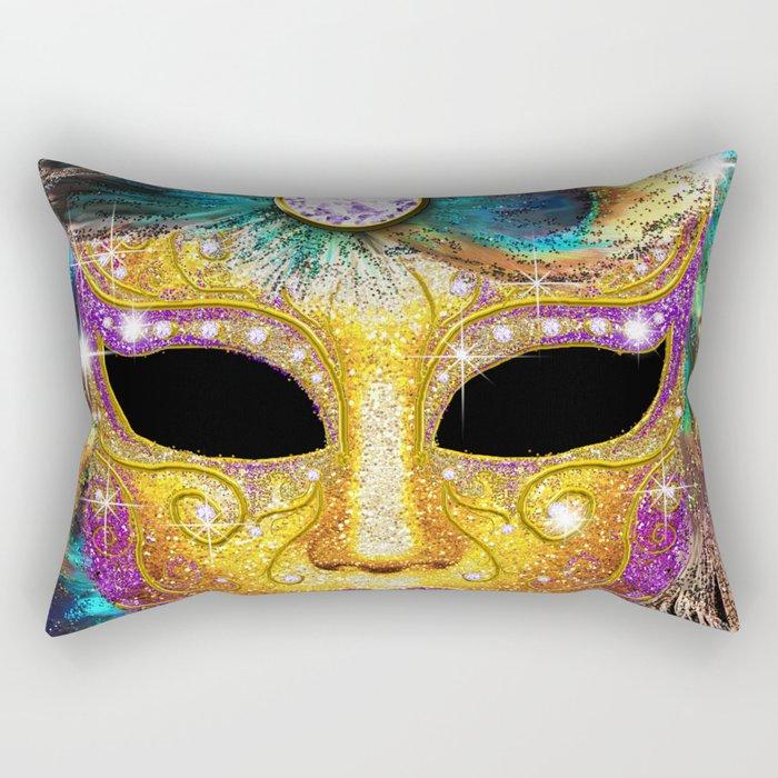 Golden Carnival Mask Rectangular Pillow