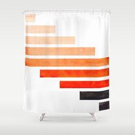 Orange Minimalist Mid Century Modern Inca Watercolor Stripes Staggered Symmetrical Pattern Shower Curtain