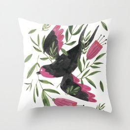 Swallow with Flowers Throw Pillow