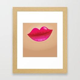 Pink ladies lips on skin Framed Art Print