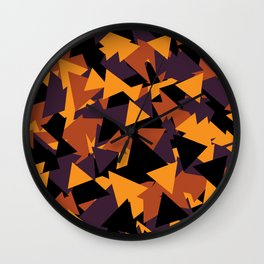 October Fall Season Pattern Halloween Mountain Triangle Wall Clock