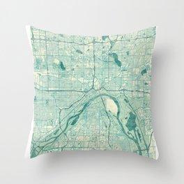 St Paul Map Blue Vintage Throw Pillow