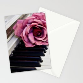 Piano Keys With Rose Stationery Cards