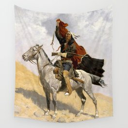 """Frederic Remington Western Art """"The Blanket Signal"""" Wall Tapestry"""