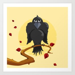 Raven sitting on a branch Art Print