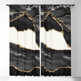 In the Mood Black and Gold Agate Blackout Curtain