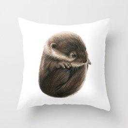 Shy Otter Throw Pillow
