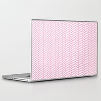 herringbone Laptop & iPad Skins featuring Herringbone Pink by Project M