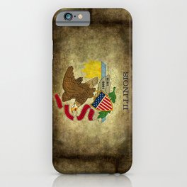Flag of Illinois in grungy vintage iPhone Case
