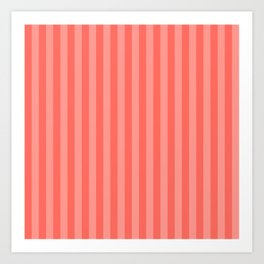 Coral Pink Thin Vertical Stripes Art Print