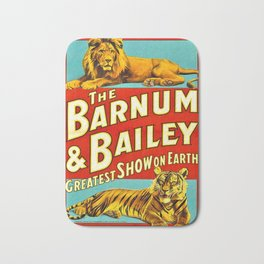 Barnum and Bailey Great Show on Earth - Lion and Tiger Vintage Circus Poster Bath Mat