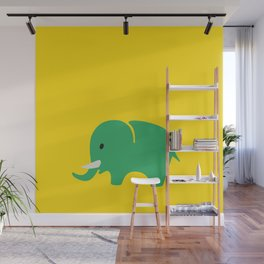 Kids elefant green Wall Mural