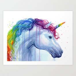 Magical Rainbow Unicorn Art Print