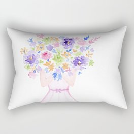 GIRL HOLDING BOUQUET OF FLOWERS / THANK YOU / CONGRATULATIONS / BIRTHDAY Rectangular Pillow