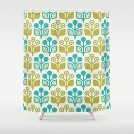 Mid Century Garden Flower Pattern Turquoise Chartreuse Shower Curtain
