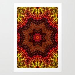 Fiery Fractal Mandala 2 Art Print