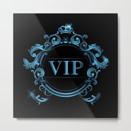 VIP in Blue and Black Metal Print