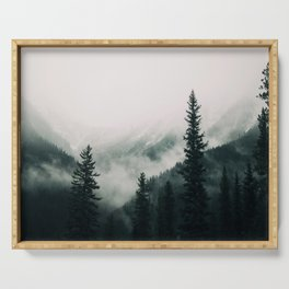Over the Mountains and trough the Woods -  Forest Nature Photography Serving Tray