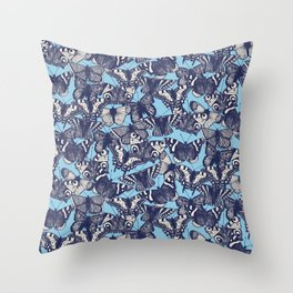butterfly blue Throw Pillow