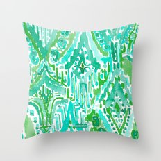 DROPS OF WONDER Green Ikat Tribal Throw Pillow