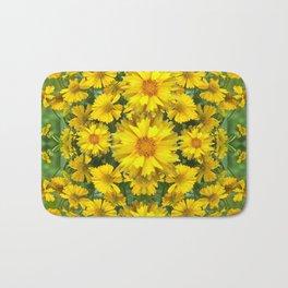 YELLOW COREOPSIS FLOWERS GREEN GARDEN Bath Mat