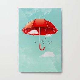 Teal Sky Red Umbrella Metal Print