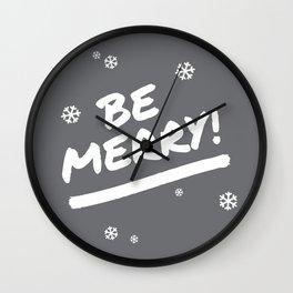 Charcoal Gray Be Merry Christmas Snowflakes Wall Clock