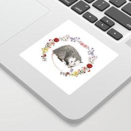 Opossum in Floral Wreath Sticker