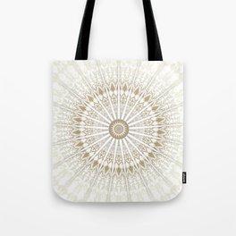 Khaki White Mandala Tote Bag