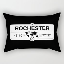 Rochester New York Map GPS Coordinates Artwork with Compass Rectangular Pillow