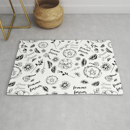 Femme Forever - Cute Floral Occult Picture Rug