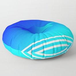 Star Flight Space Carrier - Midnight Navy Blue Turquoise Floor Pillow