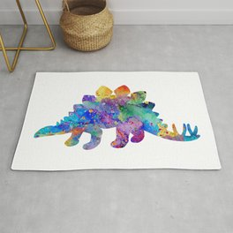 Stegosaurus Dinosaur Art Watercolor Pint Wild Animals Nursery Decor Kids Room Colorful Art Poster Rug