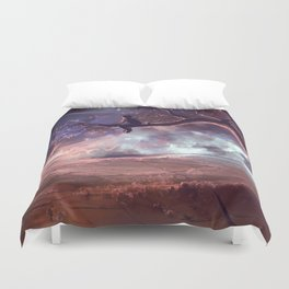 It made scars in the sky  Duvet Cover