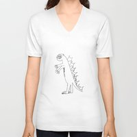 dino V-neck T-shirts featuring Dino by landon zobel