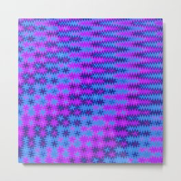 Blue and Purple ZigZag Distorted Cheverons Metal Print