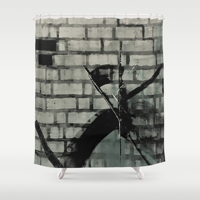 Graffiti Street Art from Original Painting by Jodi Tomer. Abstract Black and White Bricks Shower Curtain