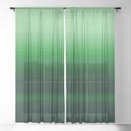 Emerald Green Stripe Design Sheer Curtain