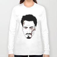 robert downey jr Long Sleeve T-shirts featuring Zombie Robert Downey Jr. by Roman Jones