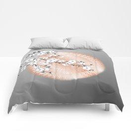 Japanese Cherry Blossom Rose Gold Gray Comforters