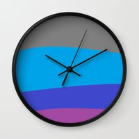 waves Wall Clocks featuring Gray Blue Purple Waves by 2sweet4words Designs