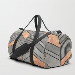Abstract Chevron Pattern - Concrete and Copper Duffle Bag