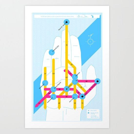 Michigan Highway System Art Print