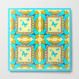 Turquoise Butterflies Creamy Patterns Metal Print