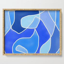 Abstract Blues Serving Tray