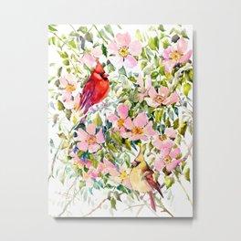 Cardinal Birds and Wild Rose Flowers Metal Print