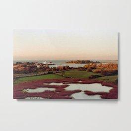 Block Island, Rhode Island Autumn Salt Ponds and Coast Guard House Metal Print